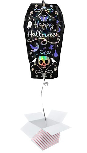 Halloween Iridescent Coffin Helium Foil Giant Balloon - Inflated Balloon in a Box Product Image