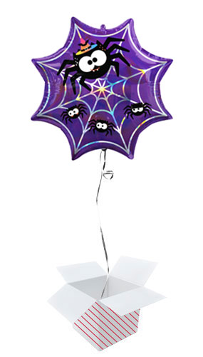 Halloween Iridescent Spider Web Helium Foil Giant Balloon - Inflated Balloon in a Box Product Image