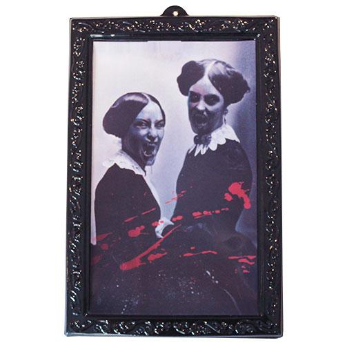 Halloween Lenticular Holographic Horror Vampire Women Portrait Wall Hanging Decoration 38cm