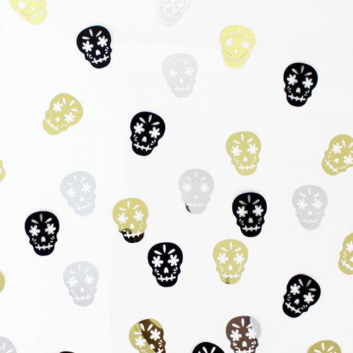 Halloween Metallic Skull Shape Table Confetti 14 Grams