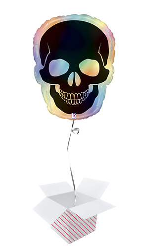 Halloween Opal Skull Rainbow Holographic Helium Foil Giant Balloon - Inflated Balloon in a Box Product Image