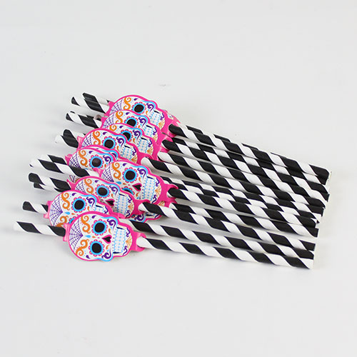 Halloween Day Of The Dead Paper Straws - Pack of 20 Product Image