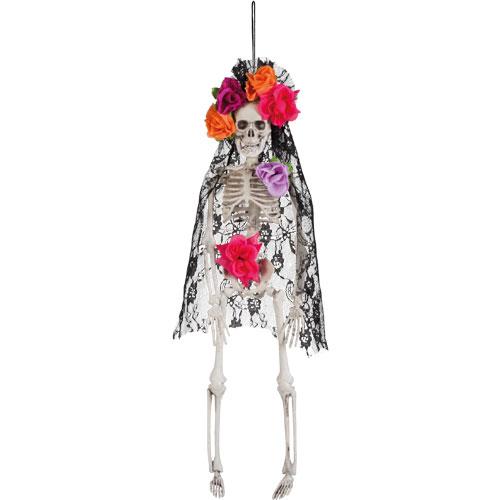 Day Of The Dead La Pelona Skeleton Halloween Prop Hanging Decoration 40cm