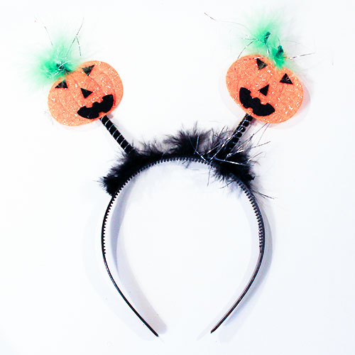 Pumpkin Head Boppers Adult Headband Halloween Fancy Dress