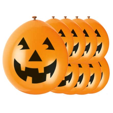 Halloween Pumpkin Latex Balloons - 23cm - Pack of 10 Product Image