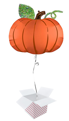 Halloween Pumpkin Satin Infused Helium Foil Giant Balloon - Inflated Balloon in a Box Product Image