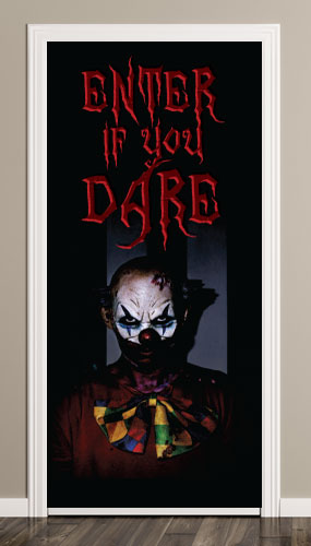 Halloween Scary Clown Door Cover PVC Party Sign Decoration 66cm x 152cm Product Image