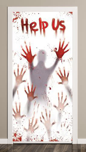 Halloween Bloody Help Us Scary Door Cover Product Image