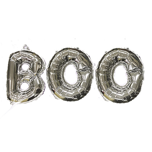 Halloween Silver BOO Air Fill Balloon Kit Product Image