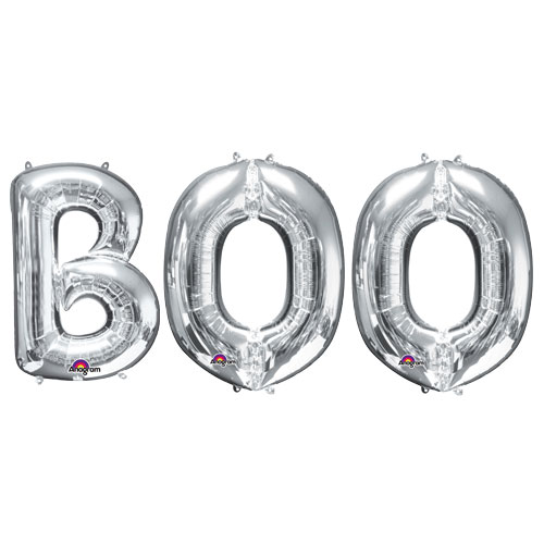 Halloween Silver BOO Small Air Fill Balloon Kit Product Image
