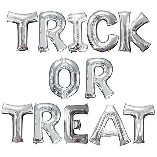 Halloween Silver TRICK OR TREAT Small Air Fill Balloon Kit Product Image
