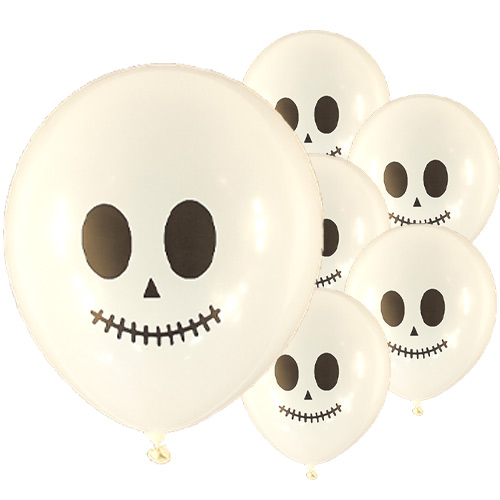 Halloween Skeleton Biodegradable Latex Balloons - 23cm / 9 in - Pack of 15 Product Image