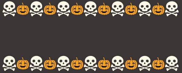 Halloween Skulls And Pumpkins Design Medium Personalised Banner - 6ft x 2.25ft