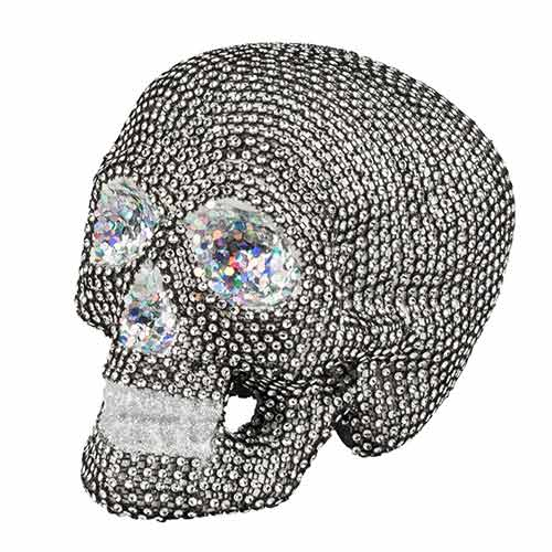 Halloween Sparkle Skull Prop Decoration 19cm Product Image