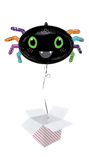 Halloween Spider Shape Helium Foil Giant Balloon - Inflated Balloon in a Box Product Image