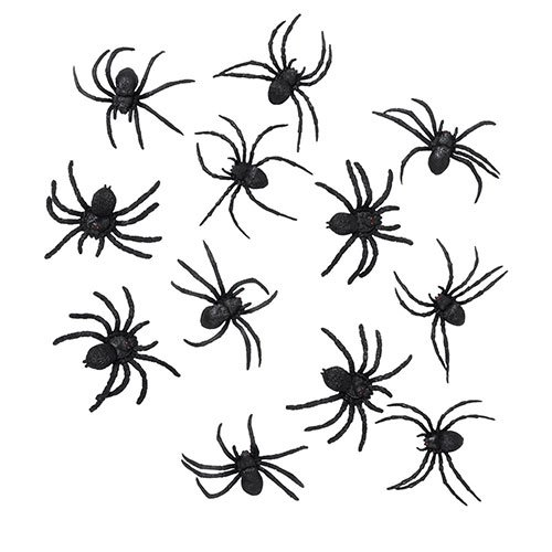 Halloween Black Rubber Spiders - Pack of 12