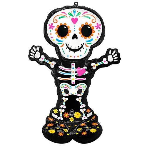 Halloween Standing Skeleton Airloonz Air Fill Giant Foil Balloon 132cm / 52 in Product Image