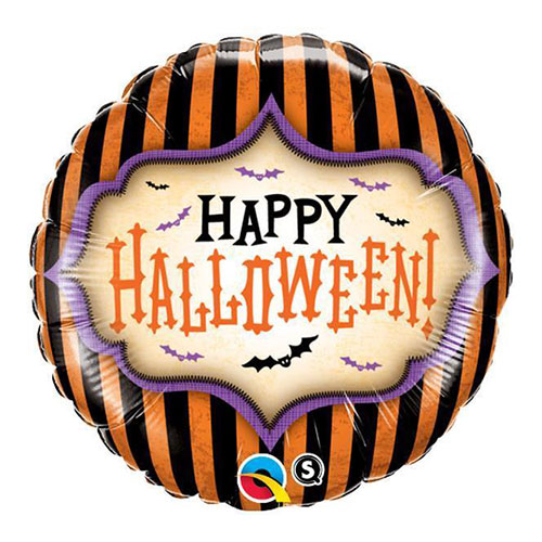 Halloween Stripes Round Foil Helium Qualatex Balloon 46cm / 18Inch Product Image