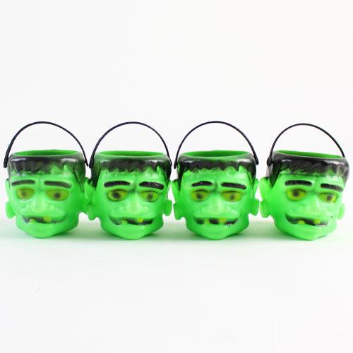 Frankenstein Halloween Plastic Treat Pots - Pack of 4