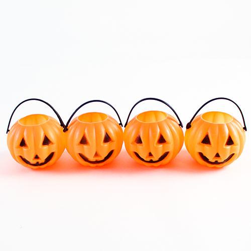 Pumpkin Halloween Plastic Treat Pots - Pack of 4