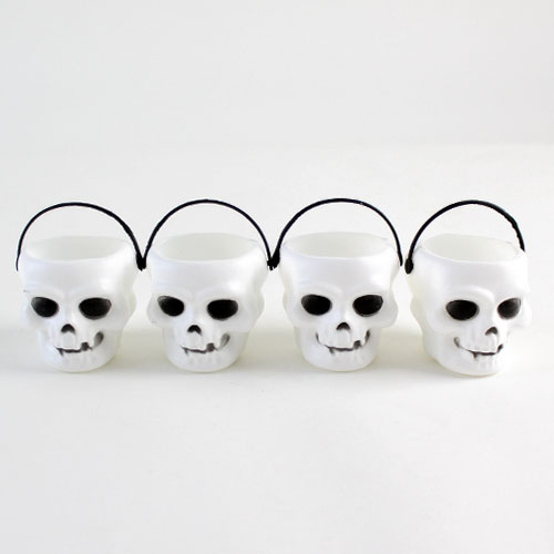 Skull Halloween Plastic Treat Pots - Pack of 4