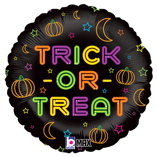 Halloween Trick Or Treat Holographic Neon Round Foil Helium Balloon 46cm / 18 in Product Image