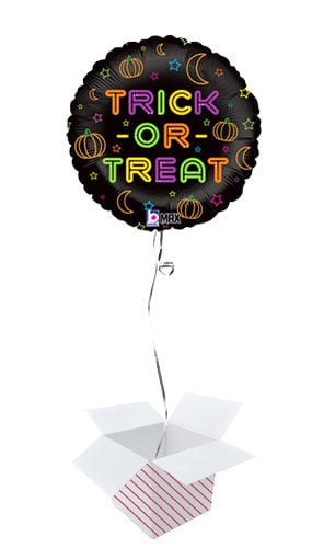 Halloween Trick Or Treat Holographic Neon Round Foil Helium Balloon - Inflated Balloon in a Box Product Image
