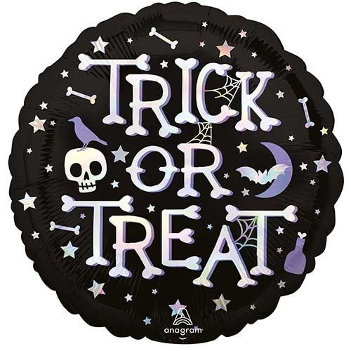 Halloween Trick or Treat Iridescent Round Foil Helium Balloon 45cm / 18 in