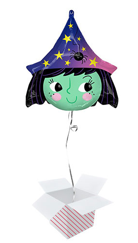 Halloween Witch Shape Helium Foil Balloon - Inflated Balloon In A Box Product Image