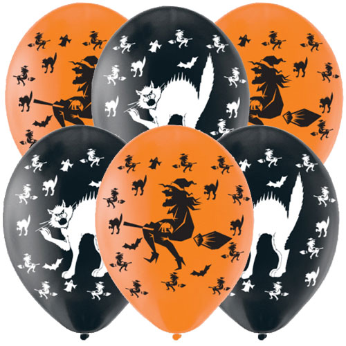 Halloween Witches And Cats Assorted Latex Balloons 28cm / 11 in - Pack of 6 Product Image
