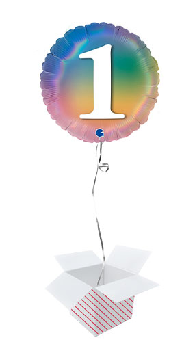 Age 1 Colourful Rainbow Holographic Round Foil Helium Balloon - Inflated Balloon in a Box