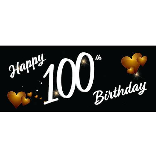 Happy 100th Birthday Black PVC Party Sign Decoration 60cm x 25cm Product Image
