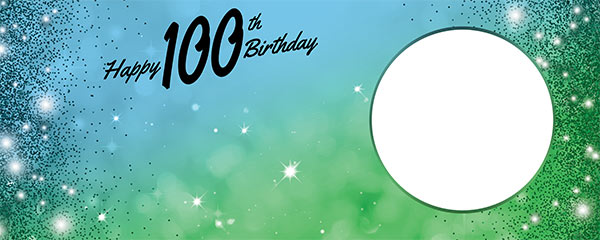 Happy 100th Birthday Sparkles Blue Green Design Small Personalised Banner – 4ft x 2ft