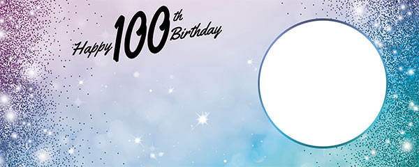 Happy 100th Birthday Sparkles Blue Pink Design Small Personalised Banner – 4ft x 2ft