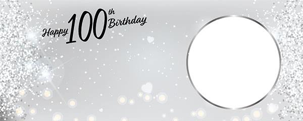 Happy 100th Birthday Milestone Light Design Small Personalised Banner - 4ft x 2ft