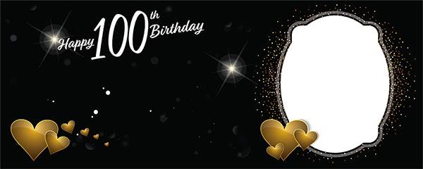 Happy 100th Birthday Milestone Dark Design Small Personalised Banner - 4ft x 2ft