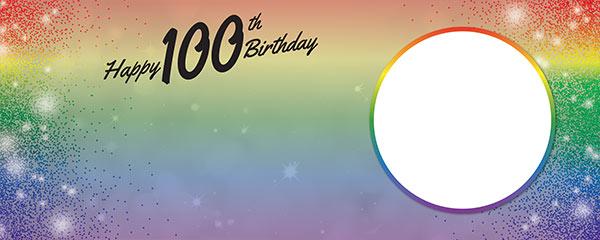 Happy 100th Birthday Rainbow Sparkles Design Medium Personalised Banner – 6ft x 2.25ft