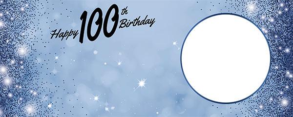 Happy 100th Birthday Sparkles Royal Blue Design Medium Personalised Banner – 6ft x 2.25ft