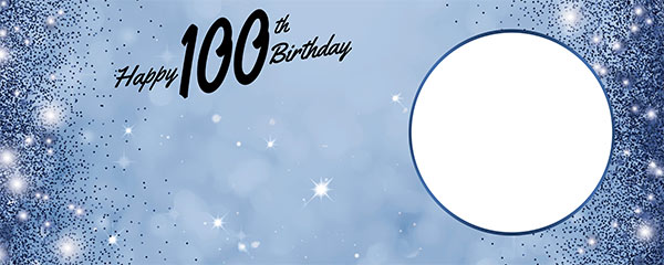 Happy 100th Birthday Sparkles Royal Blue Design Small Personalised Banner – 4ft x 2ft