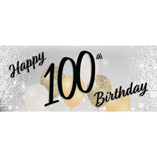 Happy 100th Birthday Silver PVC Party Sign Decoration 60cm x 25cm Product Image