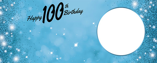 Happy 100th Birthday Sparkles Baby Blue Design Medium Personalised Banner – 6ft x 2.25ft