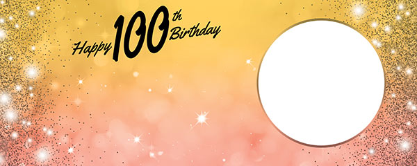 Happy 100th Birthday Sparkles Gold Pink Design Small Personalised Banner – 4ft x 2ft