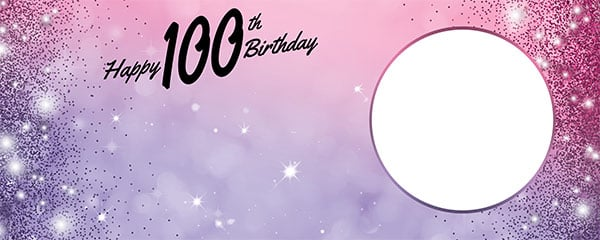 Happy 100th Birthday Sparkles Pink Purple Design Small Personalised Banner – 4ft x 2ft