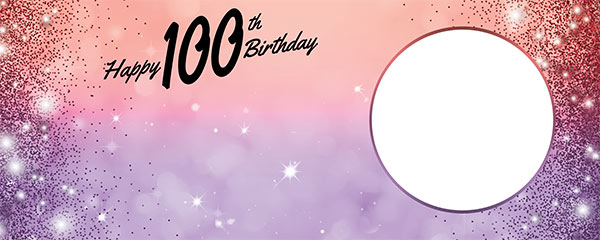 Happy 100th Birthday Sparkles Red Purple Design Medium Personalised Banner – 6ft x 2.25ft