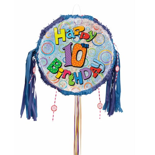 Happy 10th Birthday Holographic Pull String Pinata Product Image