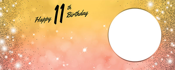 Happy 11th Birthday Sparkles Gold Pink Design Large Personalised Banner – 10ft x 4ft