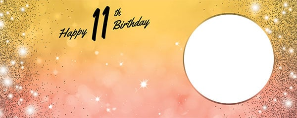 Happy 11th Birthday Sparkles Gold Pink Design Medium Personalised Banner – 6ft x 2.25ft