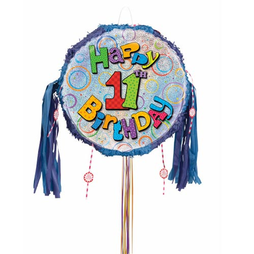 Happy 11th Birthday Holographic Pull String Pinata Product Image