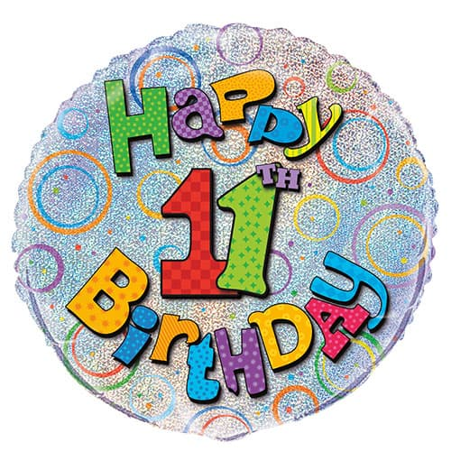 Happy 11th Birthday Holographic Round Foil Helium Balloon 46cm / 18Inch
