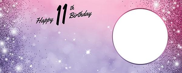 Happy 11th Birthday Sparkles Pink Purple Design Medium Personalised Banner – 6ft x 2.25ft